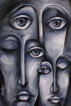 Dreamers by Michael Lang - Dreamers Painting - Dreamers Fine Art Prints and Posters for Sale Abstract Faces, Abstract Portrait, Art Visage, Guache, Art Pages, White Art, Face Art, Painting Inspiration, Painting & Drawing