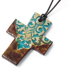 Ceramic Cross Necklace Handmade in Kenya by refugees, this cross is on a mission: to feed families, provide women with a fair income, and relieve some of the crushing poverty in the world. Ceramic Necklace, Ceramic Jewelry, Ceramic Beads, Clay Jewelry, Polymer Clay Projects, Polymer Clay Art, Ceramics Projects, Ceramic Pottery, Ceramic Art