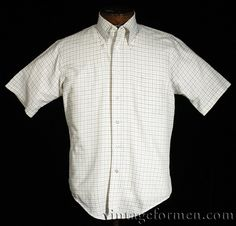 Vintage 1960s Manhattan The Natural button-front short sleeve plaid shirt.