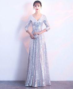Silver sequin mid sleeve long V neck evening dress, prom dress #prom #dress #promdress #promdresses #gowns
