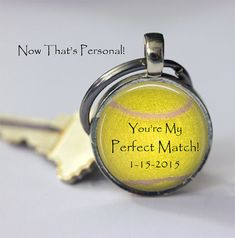 Personalized TENNIS BALL keychain- Youre My Perfect Match - Couples Keychain - To Groom from Bride - Husband Wife, Boyfriend Girlfriend This listing is for one key chain personalized with your special date Makes a cute couples gift to each other personalized with your special date.