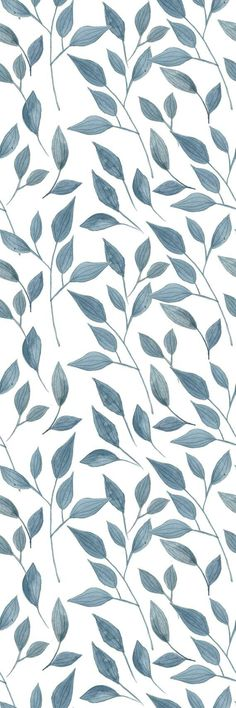 Removable Wallpaper Self Adhesive Wallpaper Handdrawn Blue Leaves Peel & Stick Wallpaper - Cute wallpapers - - Self Adhesive Wallpaper, Peel And Stick Wallpaper, Wallpaper Roll, Screen Wallpaper, Wallpaper Murals, Iphone Background Wallpaper, Pastel Wallpaper, Aesthetic Iphone Wallpaper, Aesthetic Wallpapers