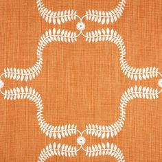Orange and white fabric -- Up the Garden Path in Pumpkin by Vanessa Arbuthnott -- per metre Teal Orange, Orange Fabric, Burnt Orange, Coral, Interior Design Elements, Interior Design Inspiration, Vanessa Arbuthnott, Fabric Board, Flat Interior