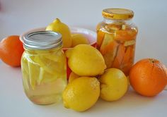 DIY All-Purpose Citrus Cleaner...■1 or 2 quart sized mason jars ■A spray bottle ■White vinegar (around 1-2 quarts) ■Orange, grapefruit, lemon, or lime peels (any combination of these will work, too) ■3 -4 drops of lemon, grapefruit, or orange essential oil (optional) --Fill jar with peels, fill to top with Vinegar, put lid on, label jar & let 'steep 2-3 weeks. Good on counters, stovetop, fridge etc...