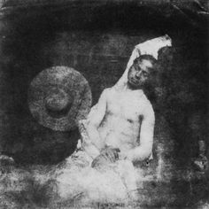 """by Hippolyte Bayard """"Self Portrait as a Drowned Man"""", the first known staged photograph. Direct positive print, 1840. Hippolyte Bayard decided to express his feelings about not receiving fame with his invention of the a photo process with this..."""