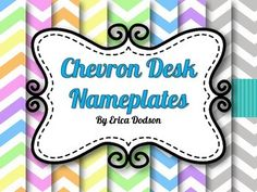 Match your chevron classroom theme with this set of assorted chevron desk name plates!  This set includes rainbow, pink, orange, yellow, green, turquoise blue, purple, gray, and gray with teal chevron nameplates.  Print name tags on cardstock and laminate for durability.