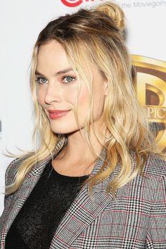 Hair Crush: Margot Robbie's Effortless Half-Up Top Knot