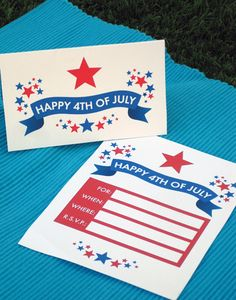Over 1/2 dozen free party printables from invitations to water bottle labels for 4th of July 2012.   Check out her site further and She has several other free printables wirh collections for many occasions and holidays.