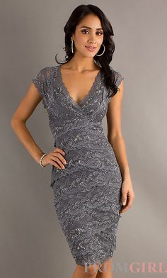Knee Length Short Sleeve Layered Lace Dress Mother of the Bride .....maybe?