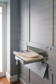 Bathroom Design Grey Laundry Rooms 35 New Ideas Laundry Cupboard, Laundry Closet, Drying Cupboard, Grey Laundry Rooms, Laundry In Bathroom, Laundry Room Design, Kitchen Design, Laundry Room Inspiration, Laundry Room Organization