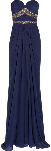 Badgley Mischka Embellished Silk Chiffon Gown in Blue (Royal blue) - Lyst     jaglady