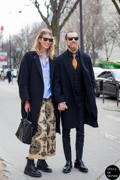 Paris Fashion Week FW 2014 Street Style: Veronika Heilbrunner and Justin O'Shea