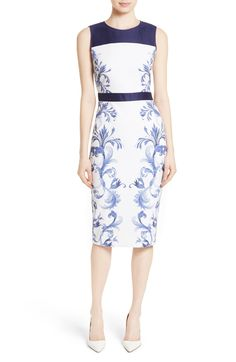 Free shipping and returns on Ted Baker London Ritah Colorblock Midi Sheath Dress at Nordstrom.com. A solid yoke and waistband add a modern graphic twist to a classically elegant sheath cast in an artful print in a midi-length silhouette.
