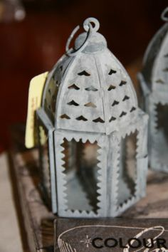 Clayre & Eef Laterne klein Metall grau glas orientalisch zum hängen und stehen