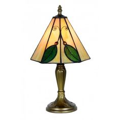 Oaks Lighting Leaf Tiffany Small Table Lamp