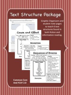 -In this packet you will find overviews for teaching the text structures for cause and effect,  description (describe and explain), sequence of events, compare and contrast, problem and solution, and question and answer. These overviews are for use in student notebooks.