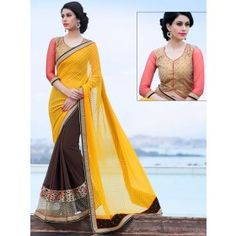 Outstanding Oak  Brown and Golden Yellow Saree