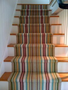 stripe stair runner installation by Colony Rug Hall Carpet, Carpet Stairs, Home Design, Design Ideas, Interior Design, Stair Runner Installation, Staircase Remodel, Stair Rugs, Patterned Carpet