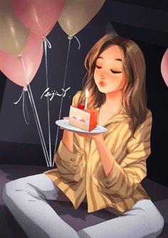 Cute Girl Wallpaper, Cartoon Wallpaper, Girl Birthday, Happy Birthday, Birthday Wishes, Mode Poster, Estilo Disney, Cute Girl Drawing, Beautiful Girl Drawing