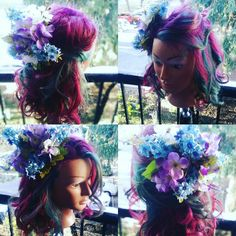 Crafty day Floral facinator with end of summer hair color using Kenra colors