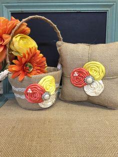 Burlap flower girl basket / ring bearer pillow - burlap pillow , burlap basket ( coral and lemon )