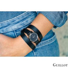 Black triple strap watch for women with silvery case by Guillot Black Friday Shopping, Black Friday Deals, Fashion Deals, Denim Fashion, Looking For Women, Parisian, Fashion Accessories, Watches, Classic