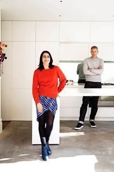 """Owners Kate Cody and her husband Steve Townshend chose cement floors for the kitchen because they're practical and easy to clean. """"They can cope without being mopped too often,"""" says Kate. Concrete Bench, Concrete Furniture, Polished Concrete Kitchen, Building Renovation, Architectural Presentation, Architectural Models, Architectural Drawings, Terrace, Building A House"""