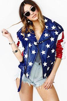 American Badass Leather Moto Jacket. | I need his vintage American flag jacket!!