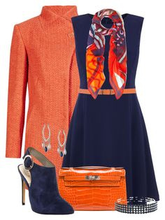 """""""Orange & Navy"""" by jennifernoriega ❤ liked on Polyvore featuring Tommy Hilfiger, Cheap Monday, Vivienne Westwood, Hermès, Sam Edelman, M&Co, Nicole Miller, women's clothing, women and female"""