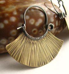 Brass Hoop Earrings - Mixed Metal Blade Hoops Sterling Silver And Brass Rustic Earrings Medium. $40.00, via Etsy.