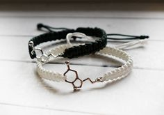 Free worldwide shipping. Serotonin bracelet, couples bracelet, engineer jewelry, serotonin molecule, chemistry bracelet, biology bracelet, lovers gift At the picture: #1 (white) and #16 (dark green) bracelets. ITEM DETAIL: ♡ One item = Two bracelets ♡ CORD: highest quality nylon cord. Choose colors for both bracelets from the drop down menu according to the picture. ♡ FINISH: adjustable knot ♡ SIZE: leave wrist measures for both bracelets in the note to seller during checkout. To mea...