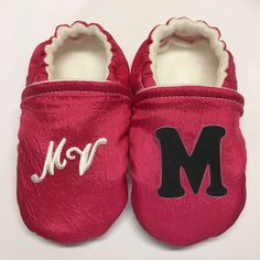 Soft Baby shoes are getting a name! Now I can add initials to the Shoes! Available on all the shoes but they look best on the solid color ones! Soft Baby Shoes, Better Posture, Baby Feet, Ankle Strap, Initials, Slippers, Cute, Color, Fashion