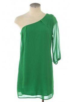 GREEN 3/4 SLEEVE ONE SHOULDER CHIFFON DRESS @ KiwiLook fashion