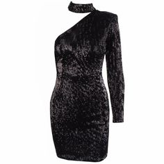 200667fcdca TAYA One Sleeve   Collar Turtleneck Black Sequin Dress – L eau de Lychee