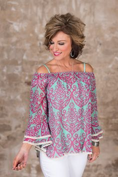 The Effie Top is a must have! This top has a rounded elasticized neckline, full bell sleeve with ruffle hem and lace trim and a hi-lo hem with lace trim. 60 Fashion, Over 50 Womens Fashion, Fashion Over 50, Spring Fashion, Fashion Outfits, Fashion Trends, Mom Outfits, Spring Outfits, Cute Outfits
