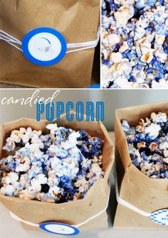 For your next tailgating party!!  Colored-Candied-Popcorn   Just use the color of jello to match your favorite team!