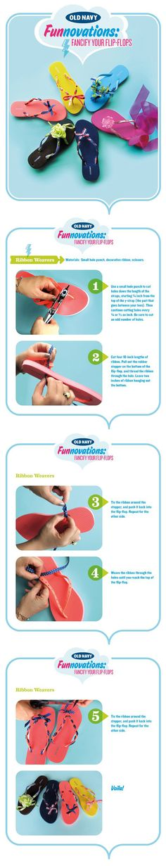 9e2f77e68f0 DIY  Fancify your Old Navy flip flops Use a hole punch and ribbon and get