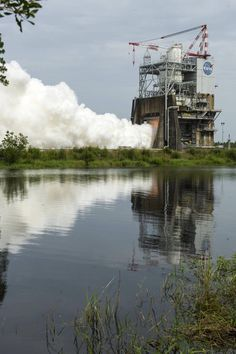 An engine test for the new SLS rocket.