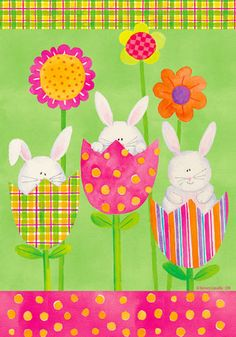 Custom Decor Flag - Tulip Bunnies