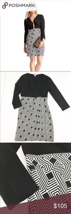 Diane von Furstenberg Gianna DVF Dress Diane von Furstenberg Gianna DVF Dress in size 10 and black and white. This gorgeous 3/4 length sleeve dress is in excellent condition. Solid top, patterned bottom. Dry clean only. Zipper on the side.   Approximate measurements: bust: 17 inches; length: 38 inches. Diane Von Furstenberg Dresses