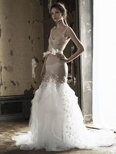 Vera Wang see-through wedding dress with bow detail