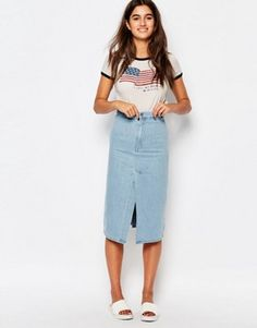 ASOS Midi Skirt with Paperbag High Waist | Skirts | Pinterest ...