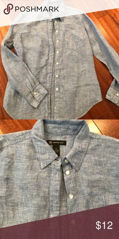 INC size 8. Soft jean blouse. Button down Size 8. Jean button down. Soft material. Worn only twice! Tops Button Down Shirts
