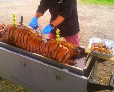 Carving one of our deliciously golden hogs at a recent event. Juicy Hog is the latest addition to Juicy Jackets forming the 'Ultimate Catering Combo' Outside Catering, Roasts, Wedding Catering, Chutney, Potato, Carving, Homemade, Weddings, Party