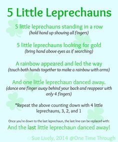5 Little Leprechauns Fingerplay Counting Rhyme FREE PRINTABLE for home or school use - perfect for toddlers and preschoolers. Also find instructions to make adorable leprechaun finger puppets! {One Time Through} St Patricks Day Songs, St Patricks Day Crafts For Kids, St Patrick's Day, Preschool Music, Toddler Preschool, Preschool Fingerplays, Toddler Crafts, Songs For Toddlers, Kids Songs