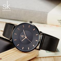 Shengke Fashion Black Women Watches 2018 High Quality Ultra thin Quartz Watch Woman Elegant Dress Ladies Watch Montre Femme SK Outfit Accessories From Touchy Style. Cheap Watches, Cool Watches, Watches For Men, Women's Watches, Black Watches, Ladies Watches, Teenager Fashion Trends, Mesh Band, Sport Watches
