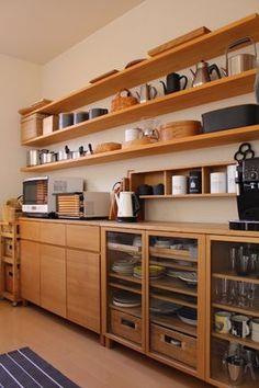Cheap Kitchen Shelving Solutions - Ending Unorganized Kitchen Setup - Life ideas Kitchen Shelf Design, Kitchen Shelves, Home Decor Kitchen, Interior Design Kitchen, Modern Interior Design, Diy Kitchen, Home Kitchens, Wooden Kitchen Cabinets, Plywood Cabinets