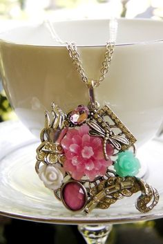 Handmade statement necklacebreast cancer by VintageValleyGirl, $29.00
