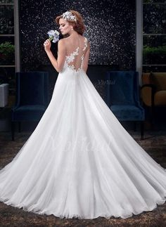 Wedding Dresses - $241.94 - A-Line/Princess Sweetheart Court Train Tulle Wedding Dress With Ruffle Appliques Lace (0025096451)