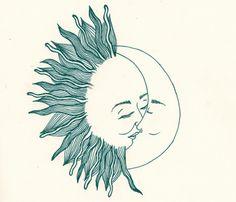 причудливо, нарисованное, поцелуй, луна, солнце